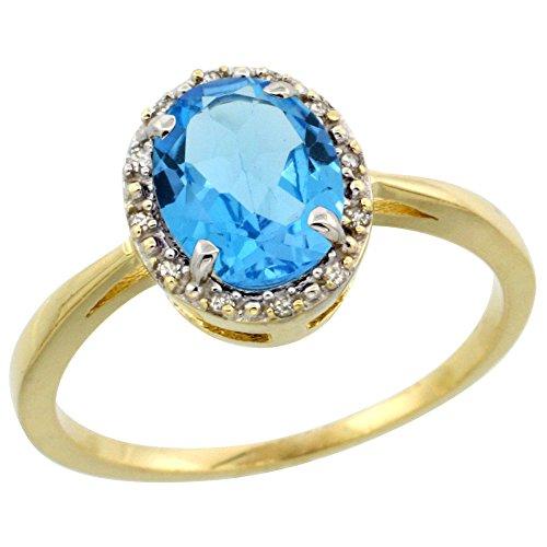 Revoni 14 Karat Gelbgold Ovalschliff Ring Topas 8x6mm mit Diamanten CY404115