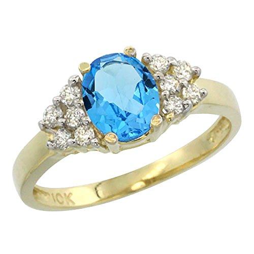 Revoni 14 Karat Gelbgold Ovalschliff Ring Topas 8x6mm mit Diamanten CY404157