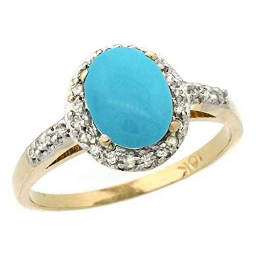 Revoni 14 Karat Gelbgold Ovalschliff Ring Türkis 8x6mm mit Diamanten CY418137