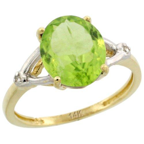 Revoni 14 Karat Gelbgold Peridot und Diamant Ring, Oval Stein (10x8 mm) Größe 57