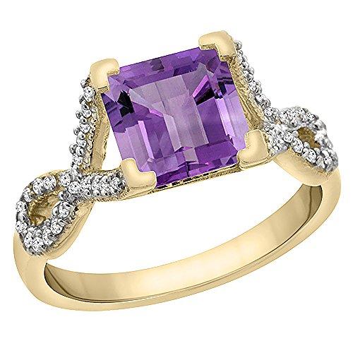 Revoni 14 Karat Gelbgold Quadratschliff Ring Amethyst mit Diamanten CY401260
