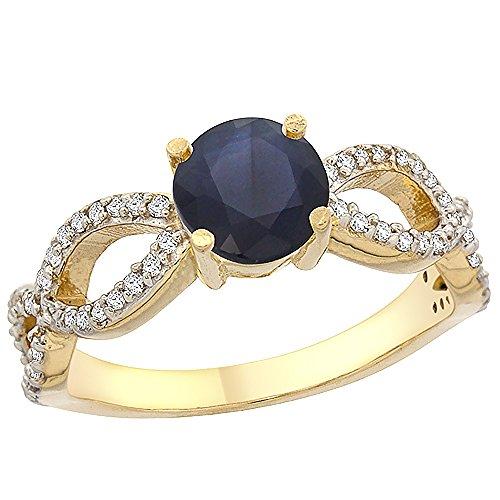 Revoni 14 Karat Gelbgold Rundschliff Ring Saphir mit Diamanten CY453274
