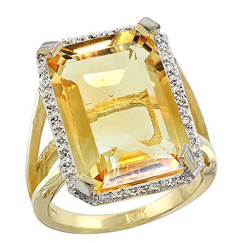 Revoni 14 Karat Gelbgold Smaragdschliff Ring Citrin 18x13mm mit Diamanten CY409140