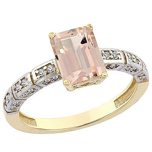 Revoni 14 Karat Gelbgold Smaragdschliff Ring Morganit 8x6mm mit Diamanten CY413265