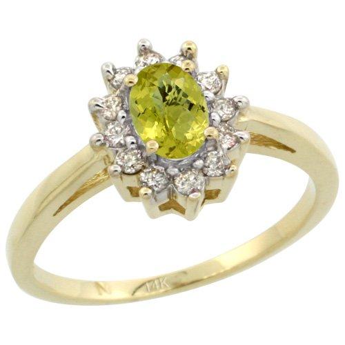 Revoni 14 Karat Gelbgold Zitronenquarz und Diamant Ring, Oval Stein (6X4 mm) Größe 56