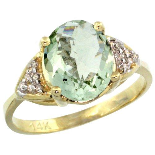 Revoni 14 Karat Gelbgold grüner Amethyst und Diamant Ring Oval Stein (10x8 mm) Größe 49
