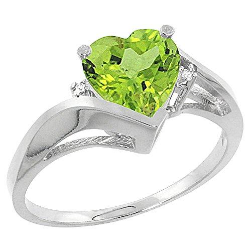 Revoni 14 Karat Weißgold Herzschliff Ring Peridot 7x7mm mit Diamanten CW411241