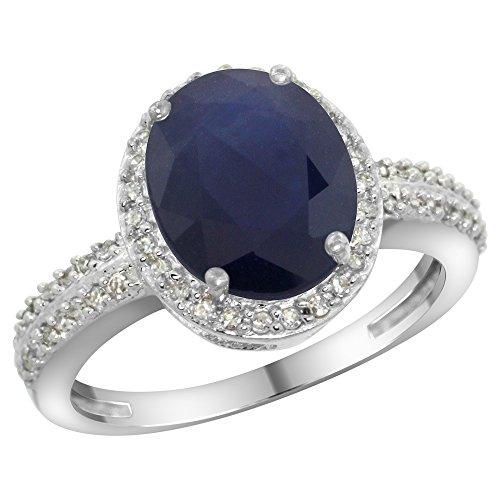 Revoni 14 Karat Weißgold Ovalschliff Ring Saphir 10x8mm mit Diamanten CW416138