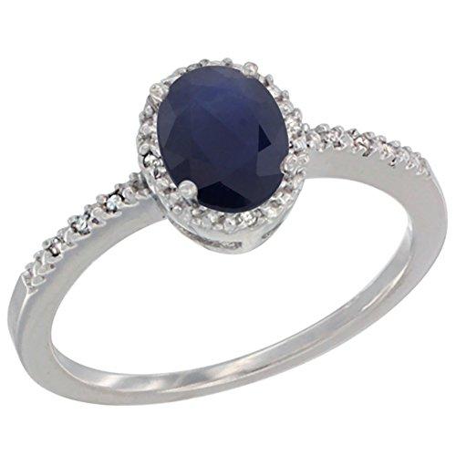 Revoni 14 Karat Weißgold Ovalschliff Ring Saphir 7x5mm mit Diamanten CW416232