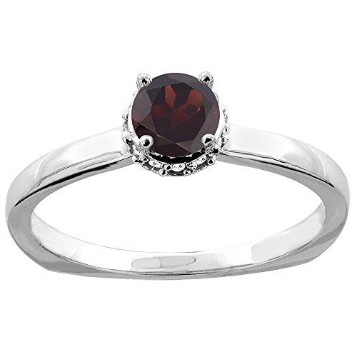 Revoni 14 Karat Weißgold Rundschliff Ring Granat mit Diamanten CW410358