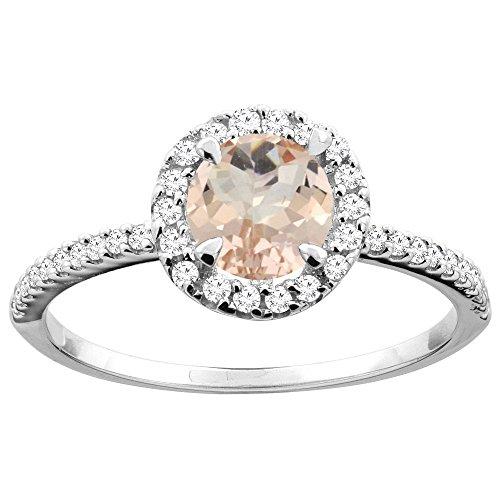 Revoni 14 Karat Weißgold Rundschliff Ring Morganit mit Diamanten CW413338