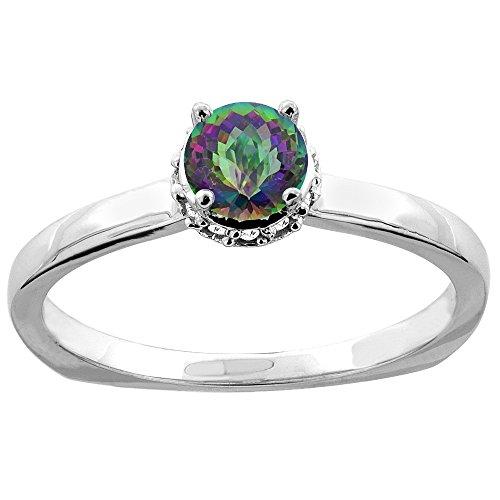Revoni 14 Karat Weißgold Rundschliff Ring Topas mit Diamanten CW408358