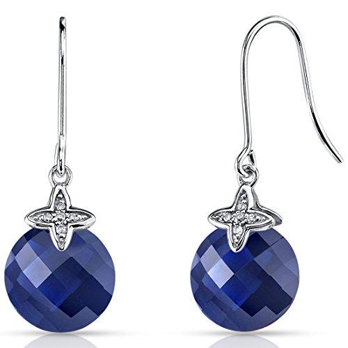 Revoni 14 Karat Weissgold 10.25 Karat erstellter Blau Saphir Diamant baumelnde Ohrringe