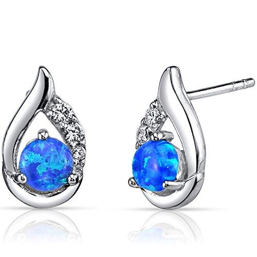 Revoni Blau Opal Ohrringe 925 Sterling Silver Rund Cabochon