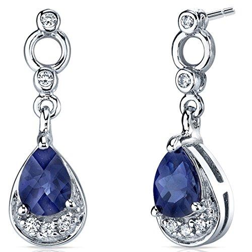 Revoni Damen-Ohrhänger 925 Sterling Silber 2 Saphire 2.00ct blau 10 Zirkonia farblos 22.5 mm PER-SE7152