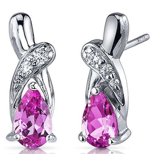 Revoni Damen-Ohrringe 925 Sterlingsilber Cubic Zirkonia Diamant Saphir 2.00 Karat rosa