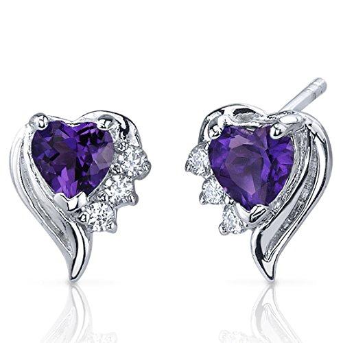 Revoni Damen-Ohrringe 925 Sterlingsilber Cubic Zirkonia Diamant und Amethyst 1.00 Karat violett