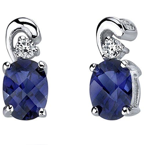 Revoni Damen-Ohrringe 925 Sterlingsilber Saphir 2.00 Karat blau