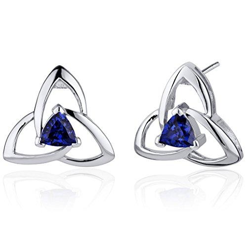 Revoni Damen-Ohrringe 925 Sterlingsilber Saphir blau -1.00 Karat