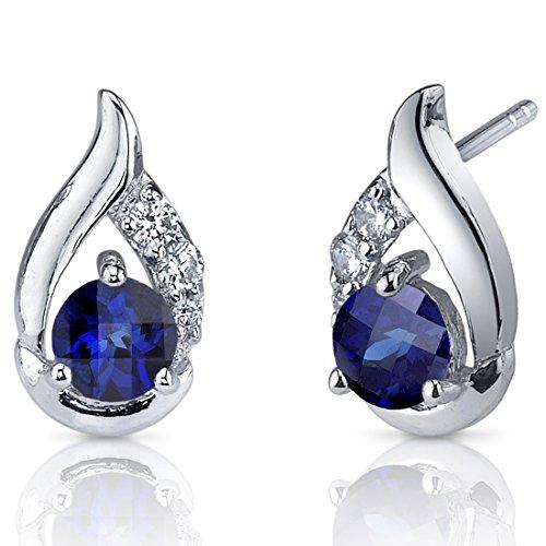 Revoni Damen-Ohrringe 925 Sterlingsilber Zirkonien Diamanten Saphir 1.50 Karat blau