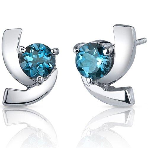 Revoni Damen-Ohrringe925 Topas Blau 1.3 cm - PER-SE7590