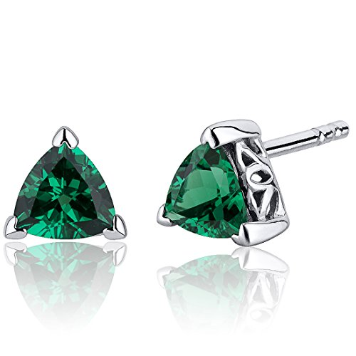 Revoni Damen-Ohrstecker 925 Sterling Silber 2 Smaragde 1.50ct grün 6.4 mm PER-SE8244