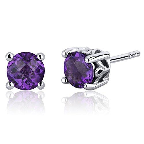 Revoni Damen-Ohrstecker 925 Sterling Silber rhodiniert Amethyst violett 1.6 cm PER-SE7942