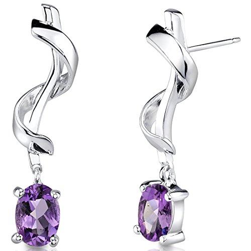 Revoni Damen-Ohrstecker 925 Sterling Silber rhodiniert Amethyst violett 2.54 cm PER-SE1704