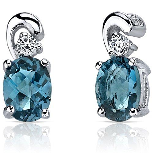 Revoni Damen-Ohrstecker 925 Sterling Silber rhodiniert Topas blau 1.6 cm PER-SE7162
