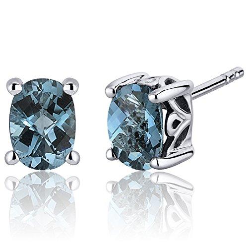 Revoni Damen-Ohrstecker 925 Sterling Silber rhodiniert Topas blau 1.6 cm PER-SE7968