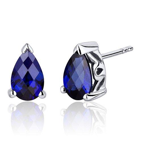 Revoni Damen-Ohrstecker 925 Sterlingsilber Saphir blau -2.00 Karat