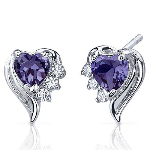 Revoni Damen-Ohrstecker Amors Grazie 925 Sterling Silber 2 Alexandriten 1.50ct lila 6 Zirkonia farblos 13 mm PER-SE7382