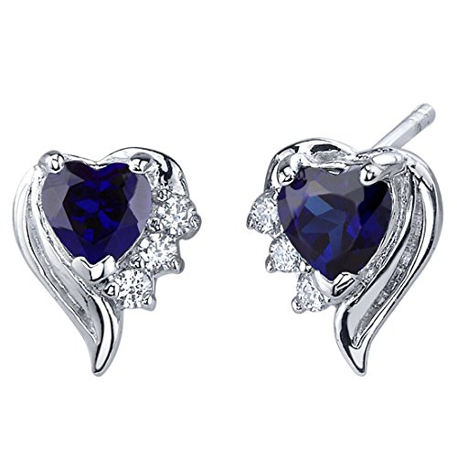 Revoni Damen-Ohrstecker Amors Grazie 925 Sterling Silber 2 Saphire 1.50ct blau 6 Zirkonia farblos 13 mm PER-SE7378