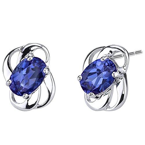 Revoni Damen-Ohrstecker Elegant 925 Sterling Silber 2 Saphire 2.00ct blau 13 mm PER-SE6974