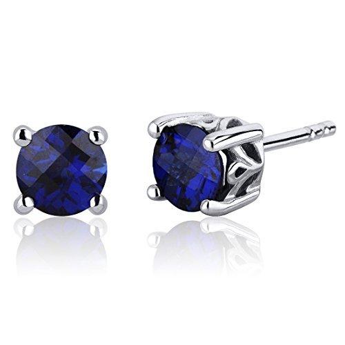 Revoni Damen-Ohrstecker Schnörkel Design 925 Sterling Silber 2 Saphire 2.00ct blau 6.4 mm PER-SE7954
