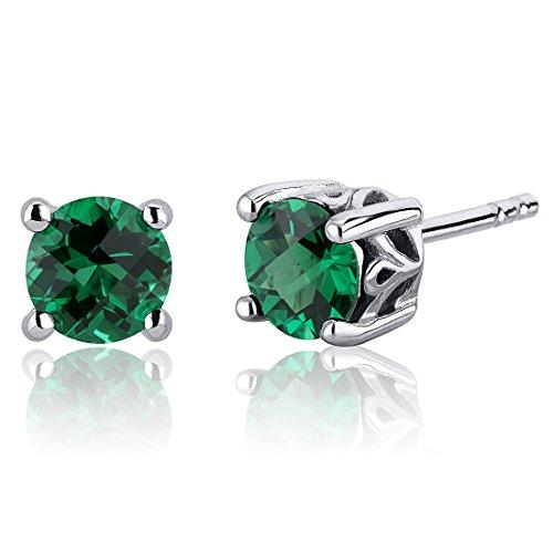 Revoni Damen-Ohrstecker Schnörkel Design 925 Sterling Silber 2 Smaragde 1.50ct grün 6.4 mm PER-SE8240