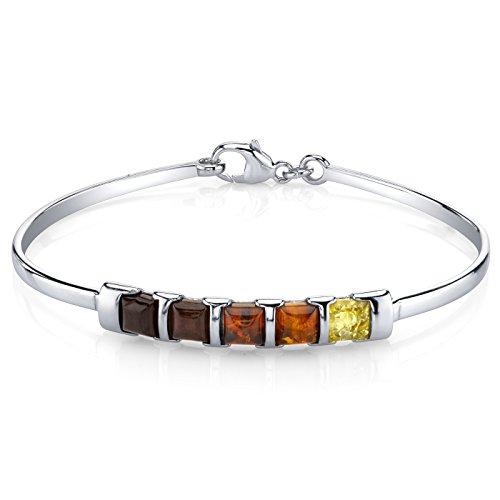 Revoni Fünf Steine vielfarbig baltischer Bernstein Armreif Armband Sterlingsilber