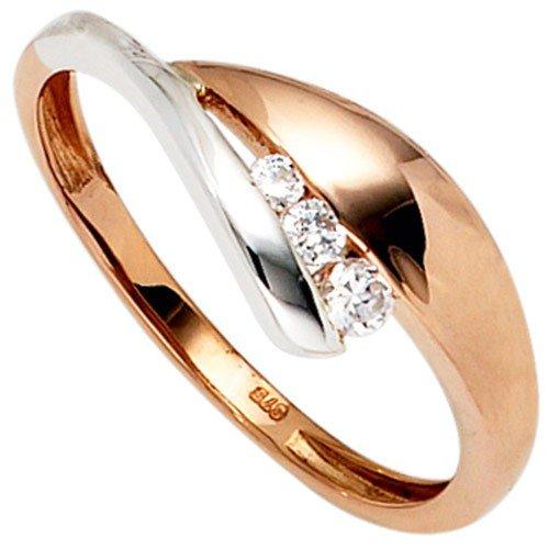 Ring Damenring mit 3 Zirkonia 375 Gold Rotgold Weißgold bicolor, Ringgröße:Innenumfang 60mm ~ Ø19mm