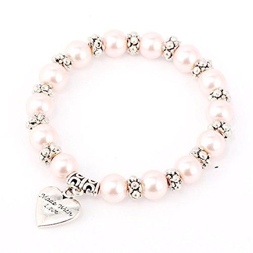 Rosa Perlen Armband Armkettchen mit kleinem Herzanhänger von Meiner Glitzerwelt