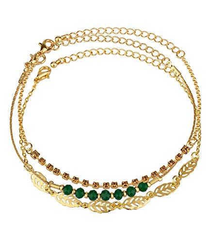SIX Damen Armbänder 3er Set gold mit grünen Steinen, Blätter, einzeln tragbar oder kombiniert, feine Armkettchen, größenverstellbar (440-388)