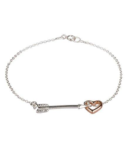 """SIX """"Geschenk"""" zartes Armband aus 925er Silber mit kleinem Pfeil und roségoldenem Herz (186-246)"""