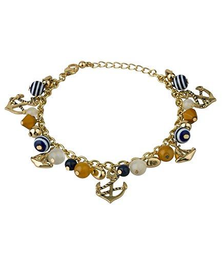 """SIX """"Marine"""" goldenes Bettel-Armband, Marine Look mit Segelschiff und Anker, gelb, blau, weiß, gestreift (460-426)"""