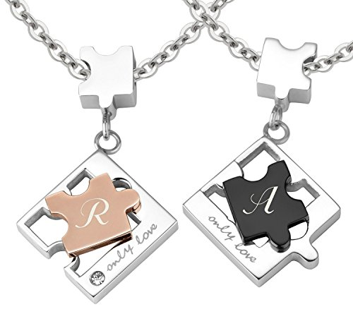 Schmuck-Pur Partner-Ketten mit persönlicher Laser-Gravur Puzzle Freundschaftsanhänger Edelstahl mit Kristall 2 Halsketten 45 / 50 cm