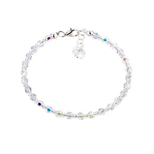 Schöner SD, feines Armband aus 4mm Swarovski® Kristallperlen und 925 Silber, Farbe Crystal Aurora Boreale, weiß
