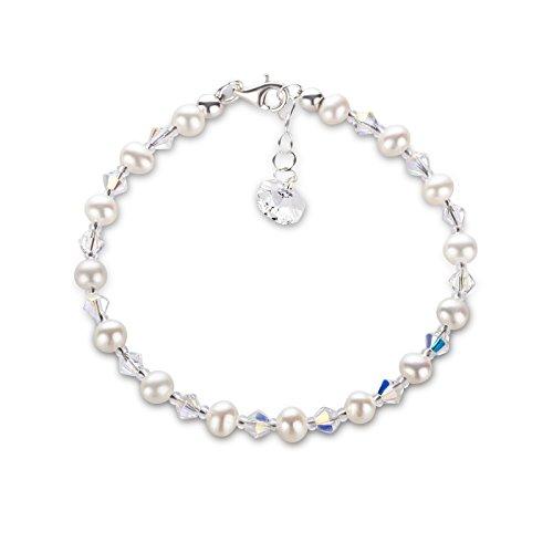 Schöner-SD, feines Perlenarmband aus funkelnden Swarovski® Kristall und 925 Silberschließe