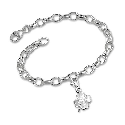 SilberDream Charms Armband Set - Kleeblatt 925er Silber Charm Anhänger und 925 Silber Armband - FCA112