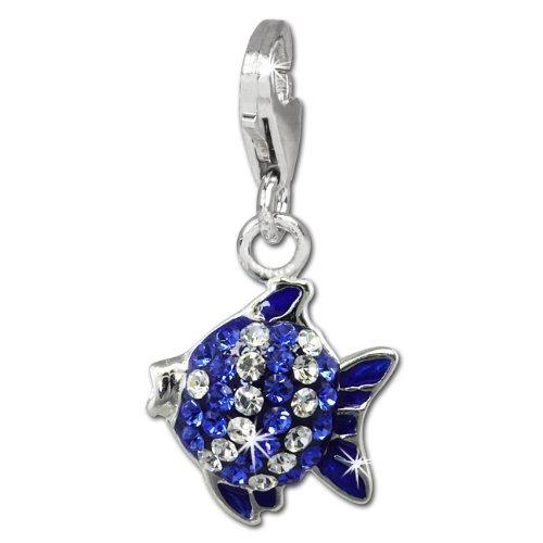 SilberDream Glitzer Charm 3D Fisch blau/weiß Zirkonia Kristalle Anhänger 925 Silber für Bettelarmbänder Kette Ohrring GSC564B