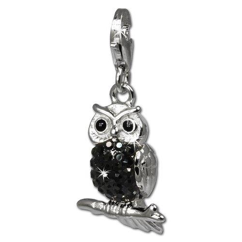 SilberDream Glitzer Charm Eule - Uhu schwarz Zirkonia Kristalle Anhänger 925 Silber für Bettelarmbänder Kette Ohrring GSC505S