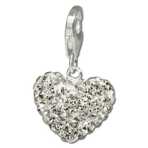 SilberDream Glitzer Charm Herz weiß Swarovski Elements shiny Anhänger 925 Silber für Bettelarmbänder Kette Ohrring GSC216W