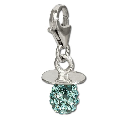 SilberDream Glitzer Charm Nuckel hellblau Zirkonia Kristalle Anhänger 925 Silber für Bettelarmbänder Kette Ohrring GSC502H